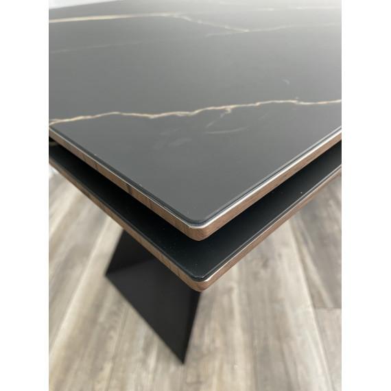 Стол Купер 160 Обсидиан, стекло / черный каркас