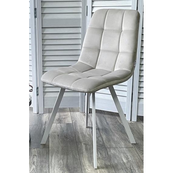 Стул CHILLI SQUARE G108-06 серебристо-серый/ белый каркас, велюр