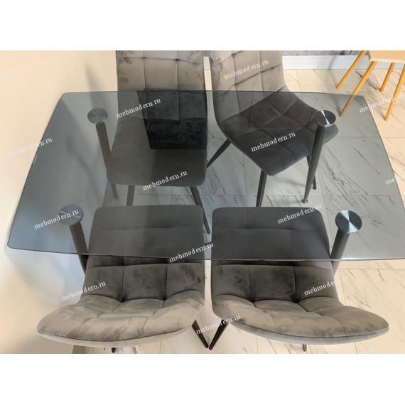 Обеденная группа RONDO 120/TERAMO серый, велюр