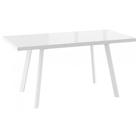 Стол БОРГ-120(160)х80 белый/стекло белое