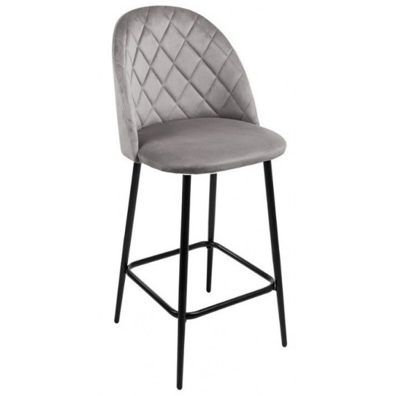 Полубарный стул НИРВАНА, цвет серый B-27, велюр / черный каркас H=63cm