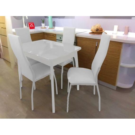 Обеденная группа М40 и 4 стула Галс белый каркас, к/з белый