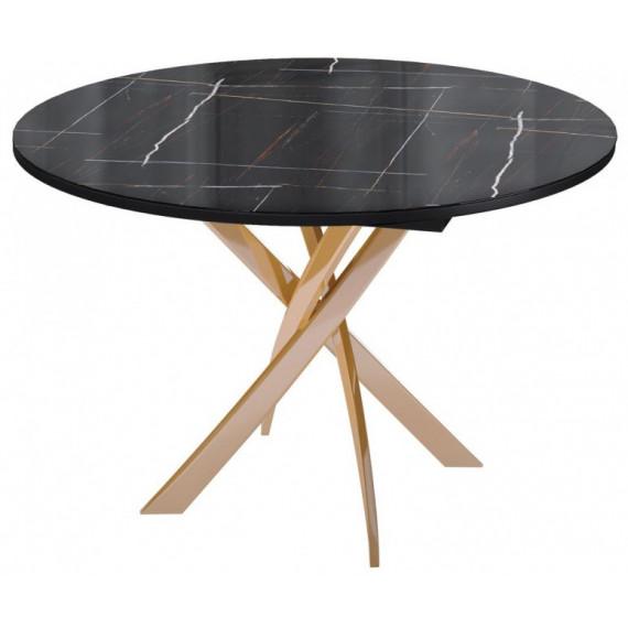Стол R1100 венге/стекло камень черный глянец/опоры золото