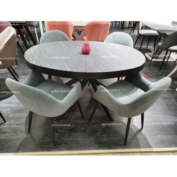 Стол Kenner VO1400 черный/мрамор серый