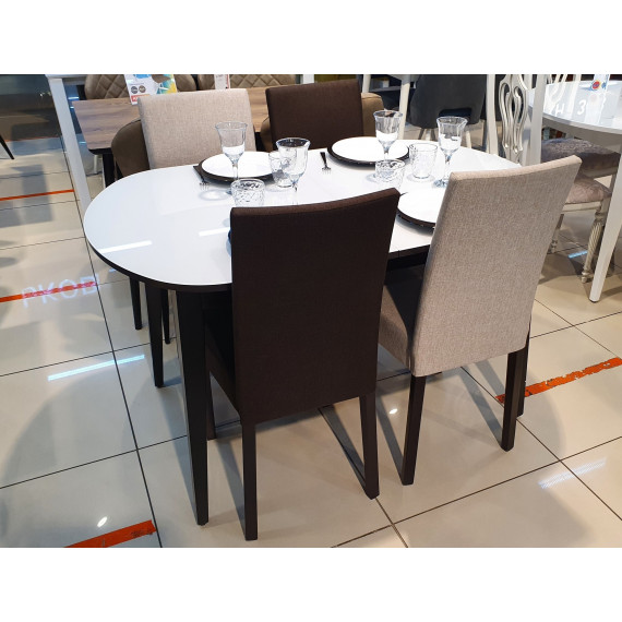 Обеденная группа 1300М венге/стекло белое + 4 стула 101С венге