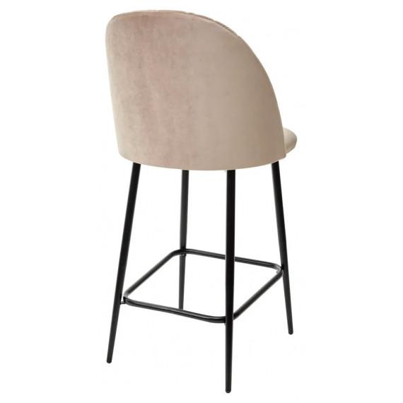 Полубарный стул НИРВАНА, цвет бежевый B-05, велюр / черный каркас H=63cm