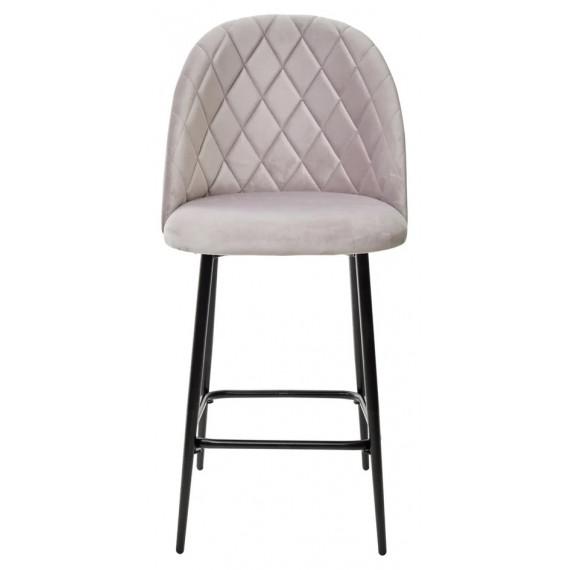 Полубарный стул НИРВАНА, цвет светло-серый B-24, велюр / черный каркас H=63cm