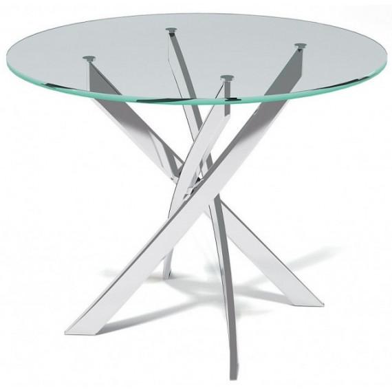 Стол Kenner R1000 хром/стекло прозрачное