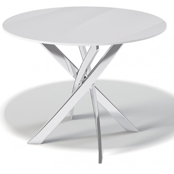 Стол Kenner R1000 хром/стекло белое глянец
