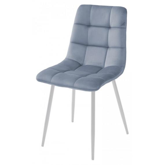 Стул CHILLI G108-56 пудровый синий/ белый каркас, велюр