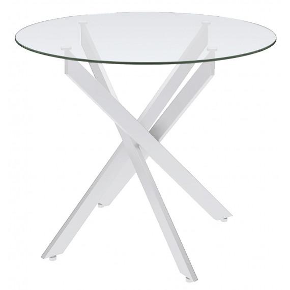 Стол Dikline R90 ножки белые/прозрачное стекло