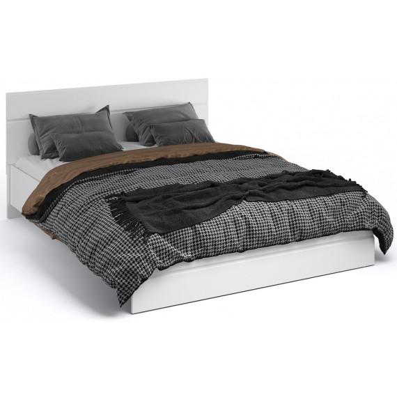 Кровать Йорк 140*200 без ламелей Белый/белый глянец
