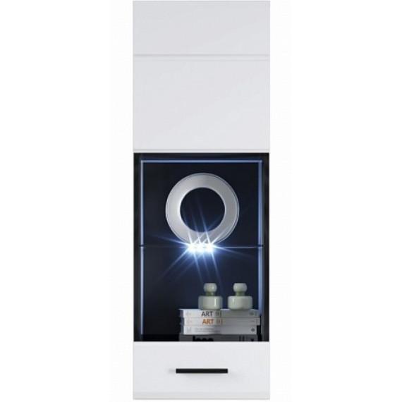 Шкаф навесной/пенал-витрина Йорк (01) ПР, Белый/белый глянец