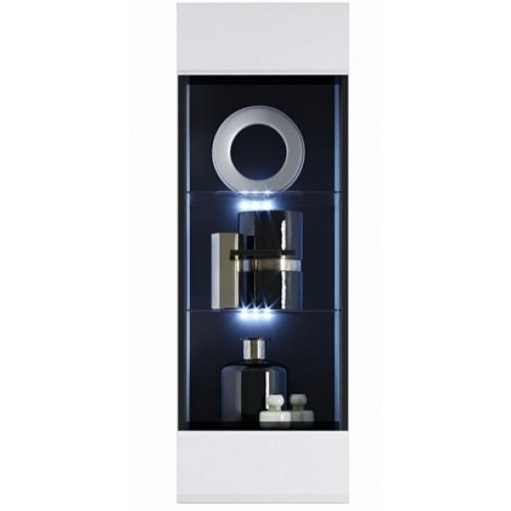 Шкаф навесной/пенал-витрина Йорк (02), Белый/белый глянец