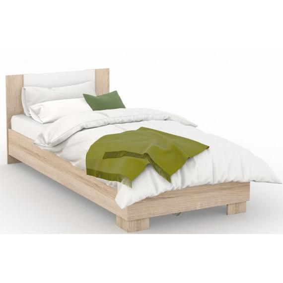 Кровать Аврора 120х200 (основание ЛДСП), Дуб сонома/Белый