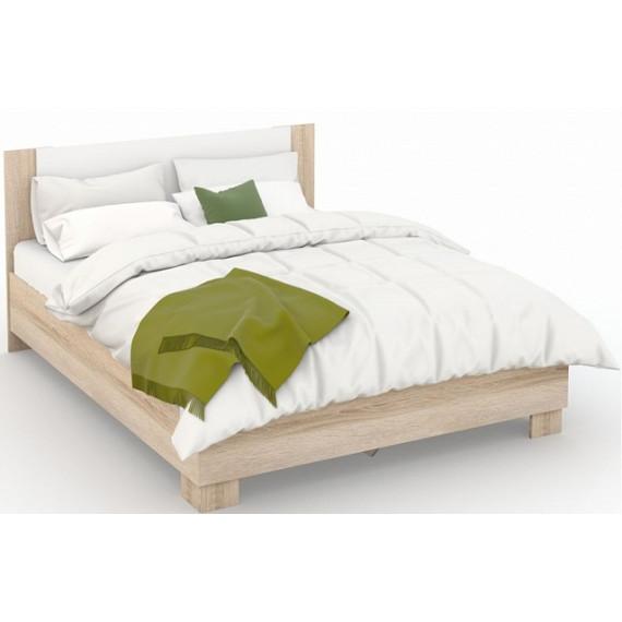 Кровать Аврора 140х200 (основание ЛДСП), Дуб сонома/Белый