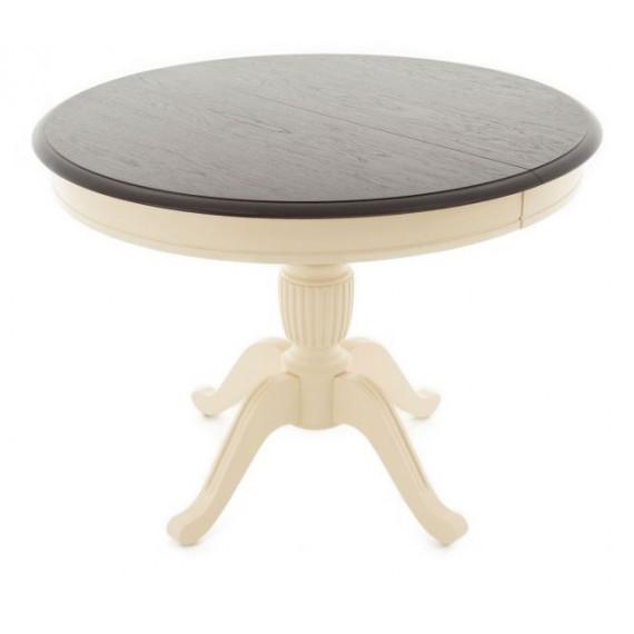Стол раздвижной Леонардо 1 (D 1000), Комби 6 (Орех темный+Слоновая кость)