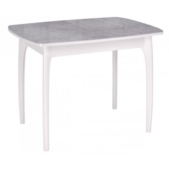 Стол Dikline М15 мрамор серый глянец/опоры белые