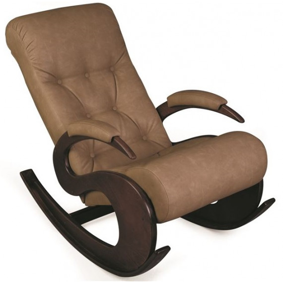 Кресло-качалка Лебедь (темный тон / 02 - к/з бежевый)