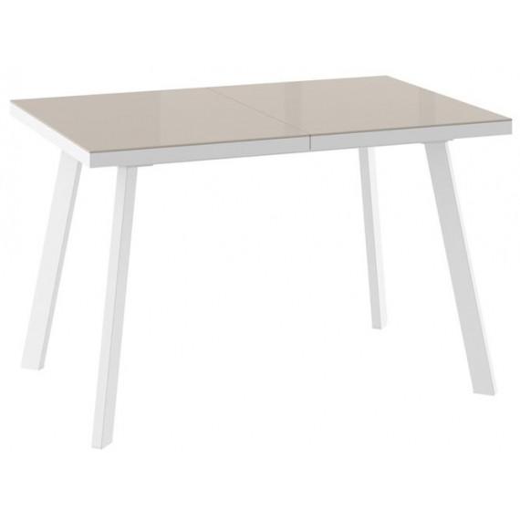 Стол БОРГ-120(160)х80 белый/стекло латте