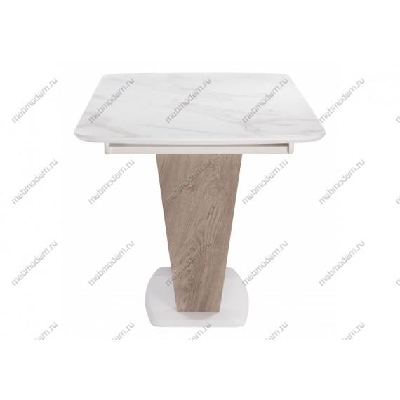 Стол на тумбе Петир/Прага белая шагрень/дуб с пилением
