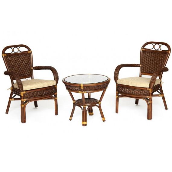 Комплект террасный «Andrea» (2 кресла с подушкой + 1 столик) (Pecan washed)