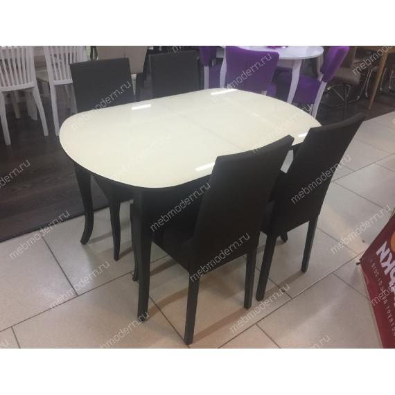 Стол 1300С венге/стекло крем