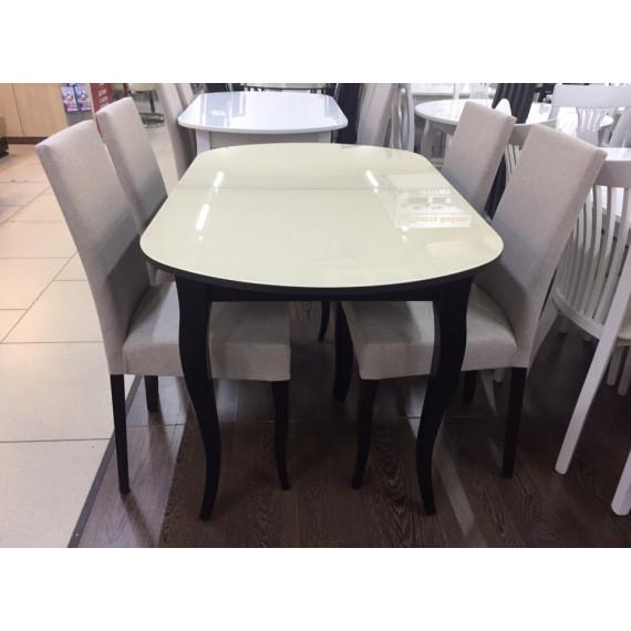 Обеденная группа 1300С венге/стекло крем + 4 стула 101С венге/бежевый