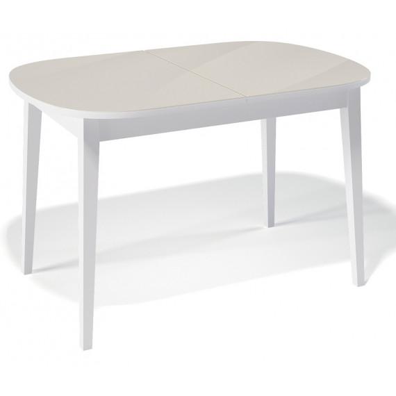 Стол 1300М белый/стекло крем
