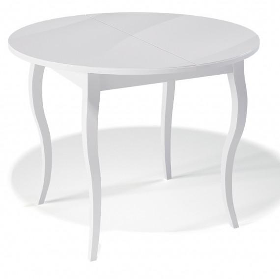 Стол 1000С белый/стекло белое