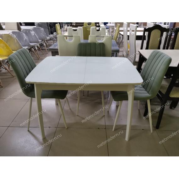 Стол обеденный М15 ДН4 белый/стекло белое