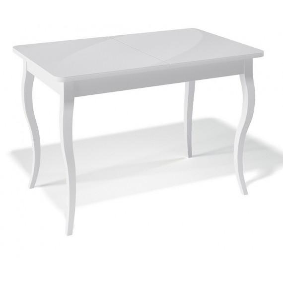 Стол 1100С белый/стекло белое глянец