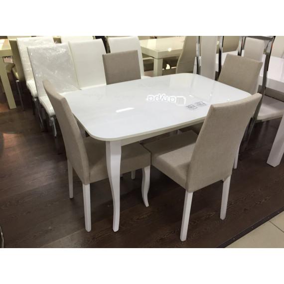 Стол 1200С белый/стекло крем