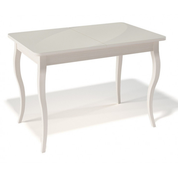 Стол 1100С крем/стекло крем сатин