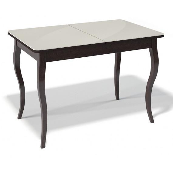 Стол 1100С венге/стекло крем глянец