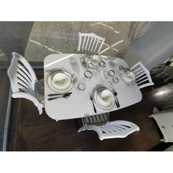 Стол 1200М белый/стекло белое