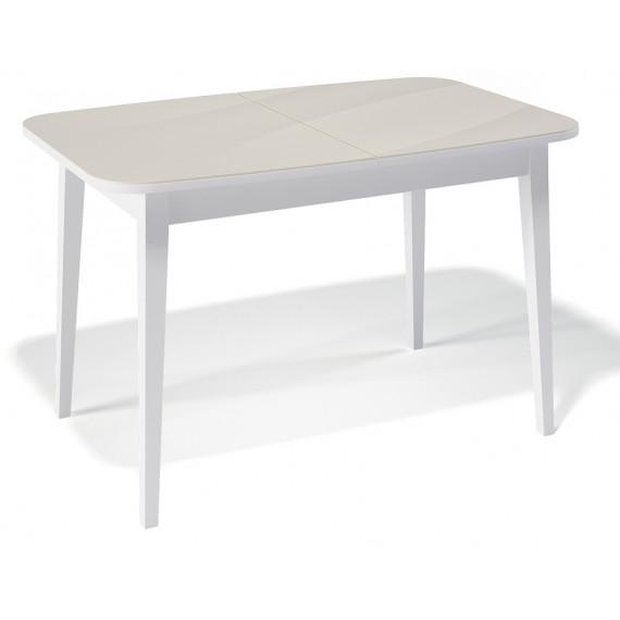 Стол 1200М белый/стекло крем