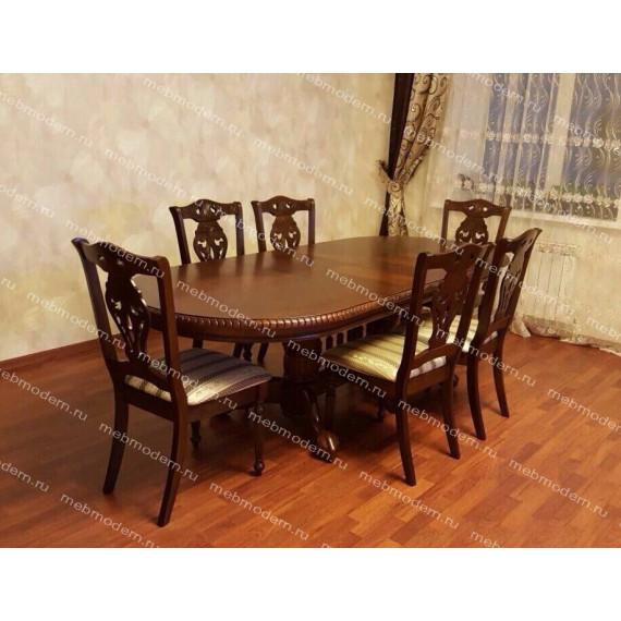 Обеденная группа стол 4296 SWC и 6 стульев 5719S темный орех