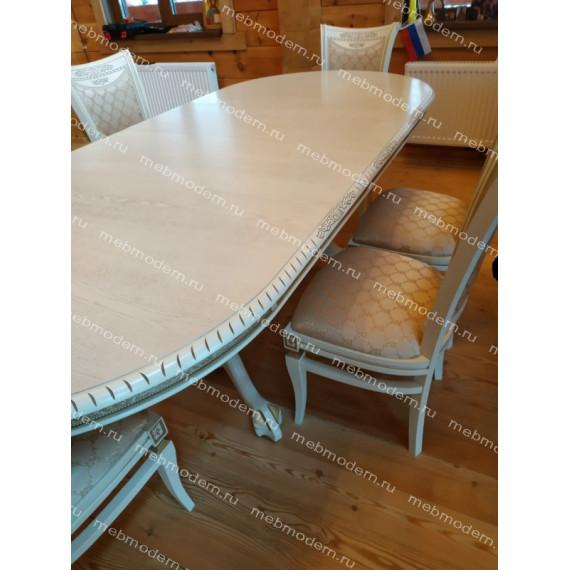 Обеденная группа стол Азия R стулья Милорд № 11 слоновая кость золотая патина ткань № 19