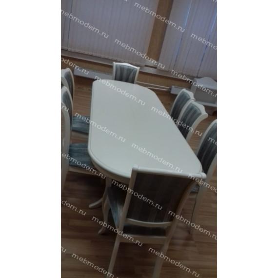Обеденная группа SIENA SA-T6EX/OP-SC Ivory White ткань 180-19