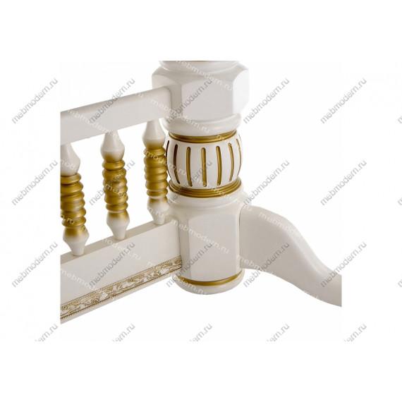 Стол Кантри молочный с золотой патиной