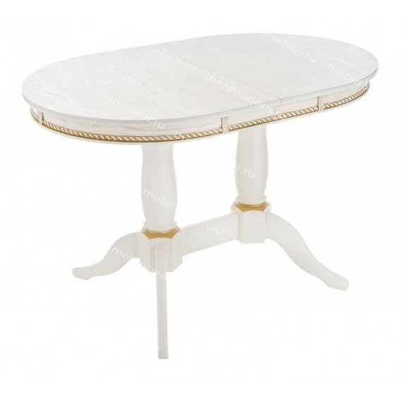 Стол обеденный Кантри 120 молочный с золотой патиной