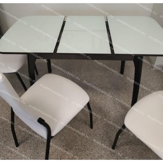 Обеденная группа Стол М40ДН4 и 4 стула Галс венге каркас/ст. белый, к/з белый