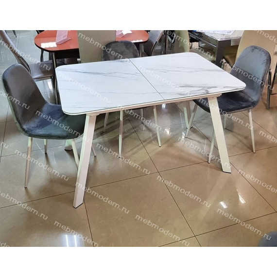 Стол ARUBA 120 GREY-WHITE/ WHITE глазурованное стекло