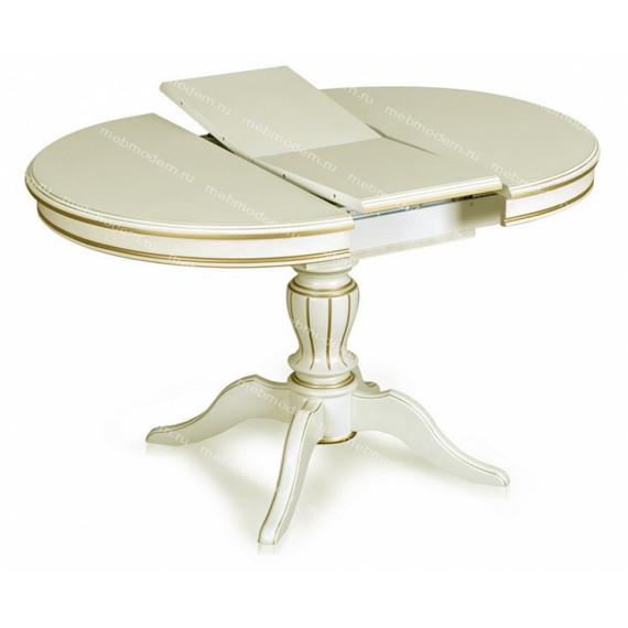 Стол обеденный Альт-1 Лайт слоновая кость с золотой патиной