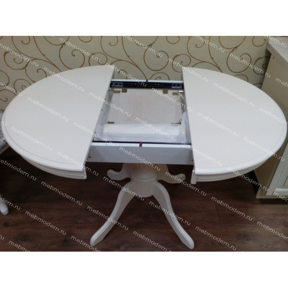 MK-1254-BW Стол TS OLIVIA D90, BUTTER WHITE (DM-T4EX4(AV))