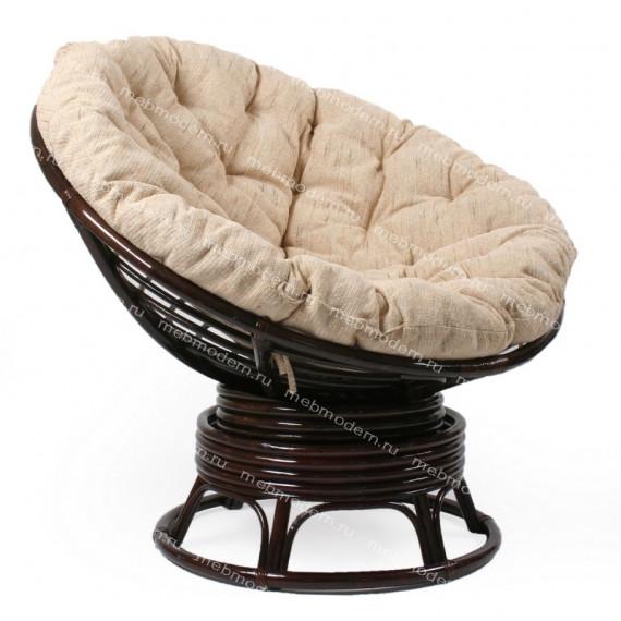 Кресло-качалка плетёное «Папасан» (Papasan 23/01B) + Подушка Antique brown (античный черно-коричневый)