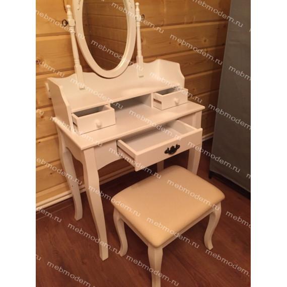 NY-V3024 Туалетный столик с пуфом Белый (White)