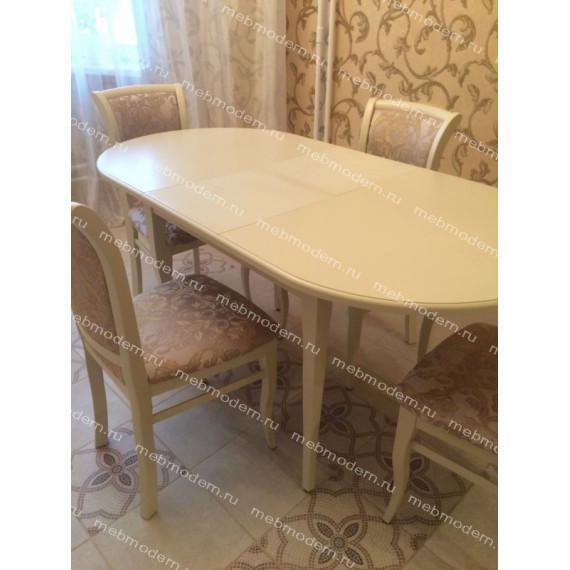 Обеденная группа стол Лемур и 4 стула М15 слоновая кость ткань 38