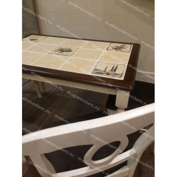 """Cтол с плиткой СТ 3045P античный белый рисунок """"Прованс"""""""